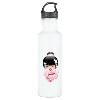着物のKokeshiの白い人形-かわいい芸者女の子 ウォーターボトル