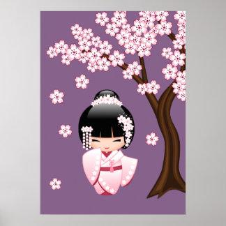 着物のKokeshiの白い人形-かわいい芸者女の子 ポスター