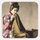 着物古い日本を縫っているヴィンテージの日本のな芸者 スクエアシール