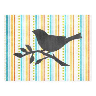 着色されたストライプな鳥の郵便はがき ポストカード