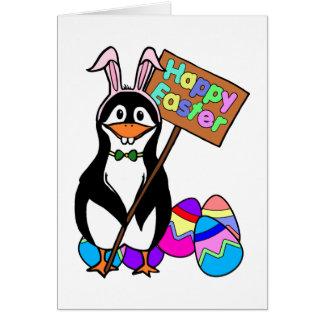 着色された卵を持つイースターペンギン カード