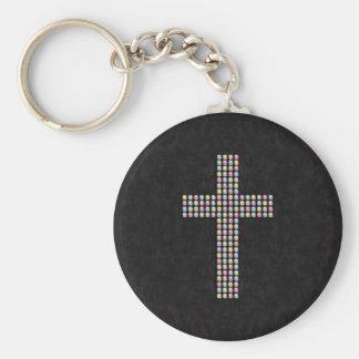 着色された宝石の十字 キーホルダー