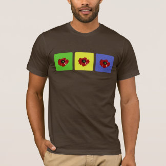 着色された正方形のワイシャツのケシ Tシャツ