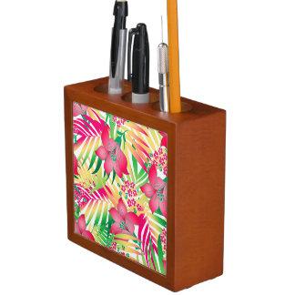 着色された熱帯花 ペンスタンド