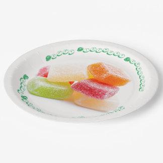 着色された粘着性の正方形の菓子 ペーパープレート