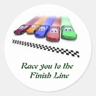 着色された車は決勝線に、競争させます ラウンドシール