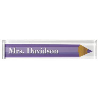 着色された鉛筆の先生のカスタムな机用ネームプレート デスクネームプレート