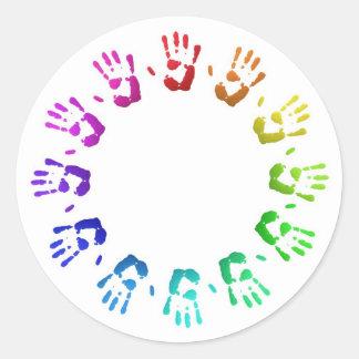 着色されたhandprints ラウンドシール