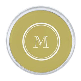 着色されるモノグラムのな真鍮の上限 シルバー ラペルピン