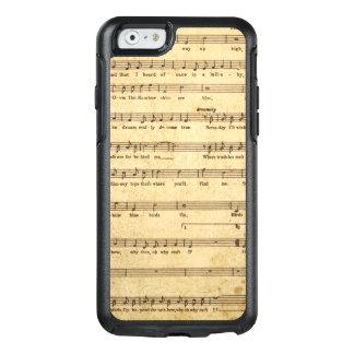 着色される叙情詩ヴィンテージの楽譜のノートによって老化させるクリーム オッターボックスiPhone 6/6Sケース
