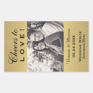 着色される金ゴールド写真のワイン・ボトルの好意を結婚すること 長方形シール
