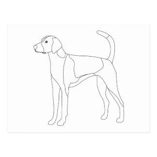 着色し、カスタマイズ準備ができたアメリカFoxhound ポストカード