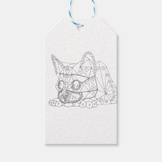 着色のためのColorable猫のスケッチ ギフトタグ