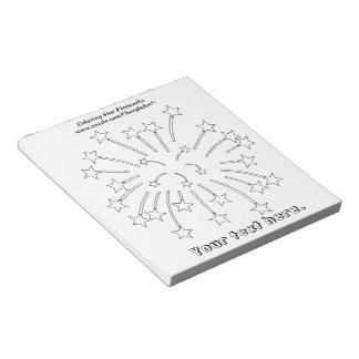 着色の星の花火の輪郭のメモ帳 ノートパッド