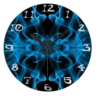着色煙の抽象芸術の暗藍色のシルエット ラージ壁時計