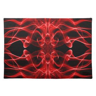 着色煙の抽象芸術の赤い黒のシルエット ランチョンマット