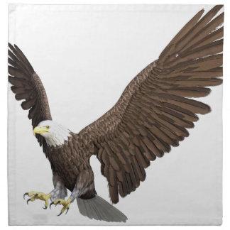 着陸のために来ている白頭鷲 ナプキンクロス