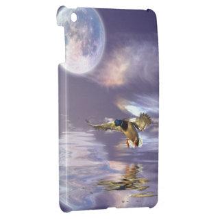 着陸のマガモのアヒル及び月の野性生物の芸術のiPadの場合 iPad Miniカバー