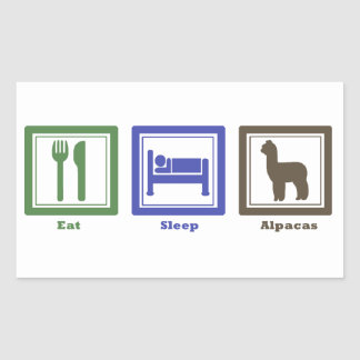 睡眠のアルパカを食べて下さい 長方形シール