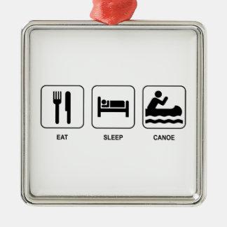 睡眠のカヌーを食べて下さい メタルオーナメント
