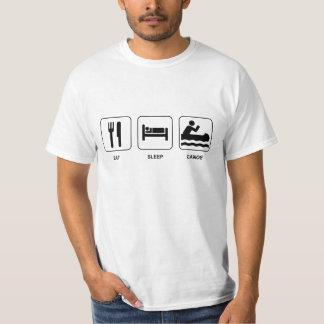 睡眠のカヌーを食べて下さい Tシャツ