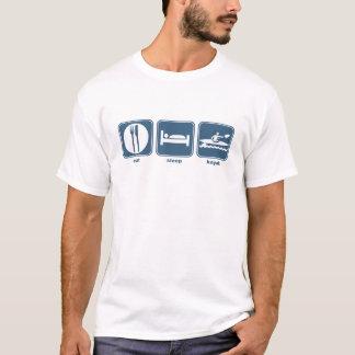 睡眠のカヤックを食べて下さい Tシャツ