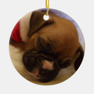 睡眠のクリスマスのボクサーの子犬のオーナメント セラミックオーナメント