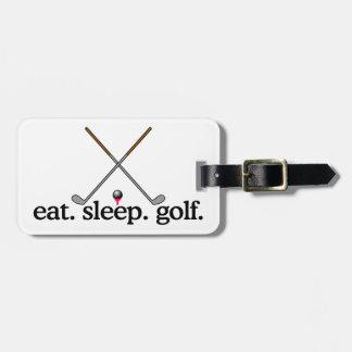 睡眠のゴルフを食べて下さい バッグタグ