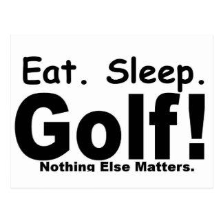 睡眠のゴルフを食べて下さい-何も重要です ポストカード