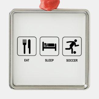 睡眠のサッカーを食べて下さい メタルオーナメント