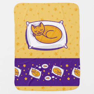 睡眠のショウガ猫が付いているベビーブランケット ベビー ブランケット