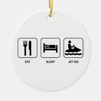 睡眠のジェット機のスキーを食べて下さい セラミックオーナメント