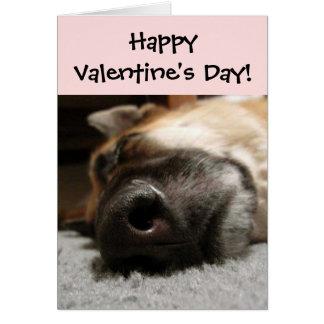 睡眠のジャーマン・シェパードのバレンタインデーカード グリーティングカード