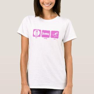 睡眠のスキーピンクを食べて下さい Tシャツ