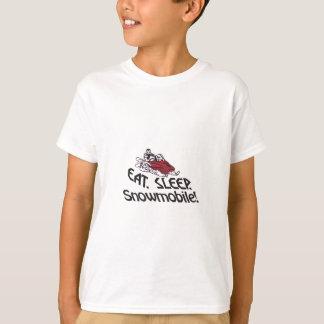 睡眠のスノーモービルを食べて下さい Tシャツ