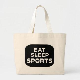 睡眠のスポーツを食べて下さい ラージトートバッグ