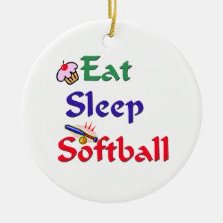 睡眠のソフトボールを食べて下さい 陶器製丸型オーナメント