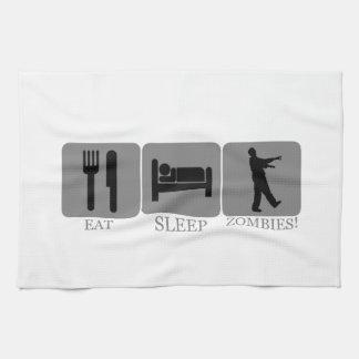 睡眠のゾンビを食べて下さい キッチンタオル