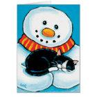 睡眠のタキシード猫の絵画を保持する雪だるま カード
