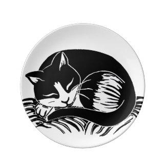 睡眠のタキシード猫の装飾的な磁器皿 磁器プレート