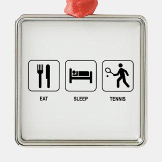 睡眠のテニスを食べて下さい メタルオーナメント