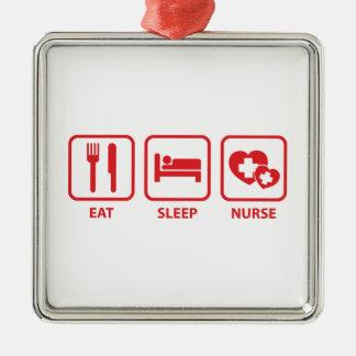 睡眠のナースを食べて下さい シルバーカラー正方形オーナメント