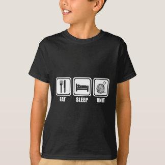 睡眠のニットのTシャツを食べて下さい Tシャツ