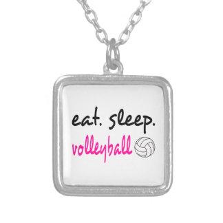 睡眠のバレーボールのネックレスを食べて下さい シルバープレートネックレス