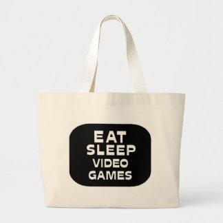 睡眠のビデオゲームを食べて下さい ラージトートバッグ