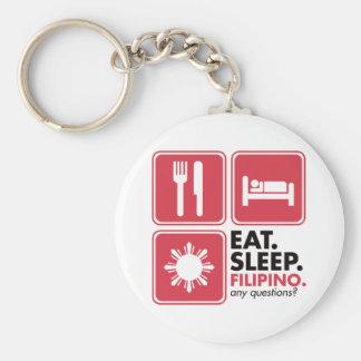 睡眠のフィリピン人-赤--を食べて下さい キーホルダー