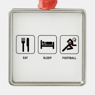 睡眠のフットボールを食べて下さい メタルオーナメント