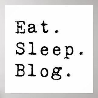 睡眠のブログを食べて下さい ポスター