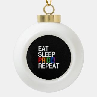 睡眠のプライドの繰り返しを食べて下さい セラミックボールオーナメント