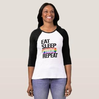 睡眠のプライドの繰り返しを- - LGBTQの権利は食べて下さい- Tシャツ